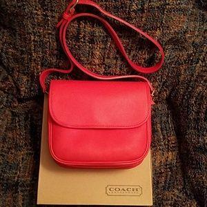 Vintage Coach Leather Shoulder Bag, Red